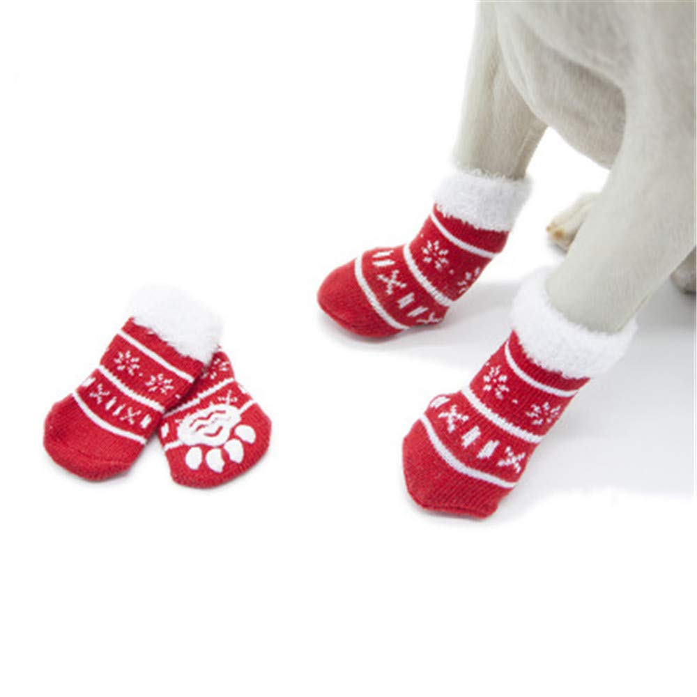 M (L 1.18\ donau 4pcs lot Winter Christmas Dog Socks Anti-Slip Cotton Pet Puppy Socks Indoor Wear Dog Paw Predector for Small Medium Large Dogs Snow M
