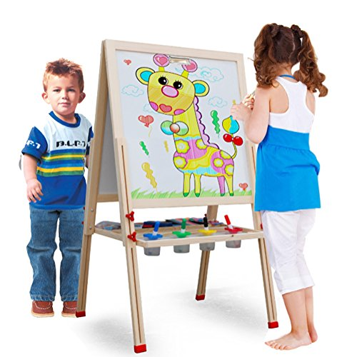 2 Station Art Easel (Toyzoo Wooden Standing Art Easel Adjustable Dry Erase Board and Chalkboard with Accessories Set)