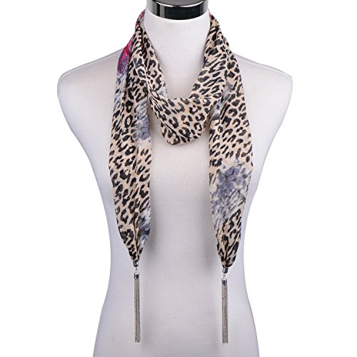 Print Skinny Headband (LERDU Gift Idea Leopard Skinny Scarf Necklace for Women Bohemian Hair or Belt or Neck Scarf jewelry Accessories Ladies,18-brown,One Size)