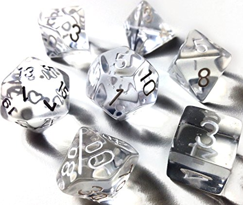 Custom & Unique {Standard Medium} 7 Ct Pack Set of [D4, D6, D8, D10, D12, D20] Assorted Polyhedral Shapes See-Through Numbered Playing & Game Dice w/ Crystal Design [Clear & White Colored] w/ Dice Box