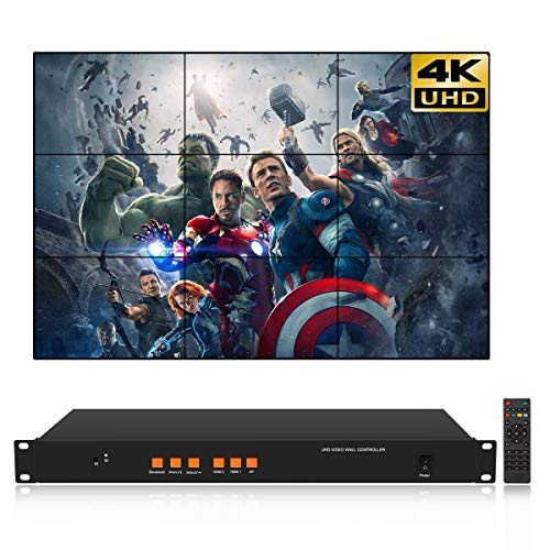 3X3 4K Video Wall Controller for 9 LCD TV Wall Splicer Support HDMI DP 3840x2160@60HZ Input Definition UHD Image Processor 1x2,1x3,2x3,3x3 9 Input Video Processor