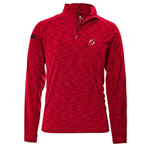 Levelwear LEY9R NHL New Jersey Devils Men's Mobility Insignia Strong Style Quarter Zip Mid-Layer Apparel, Large, Flame Red