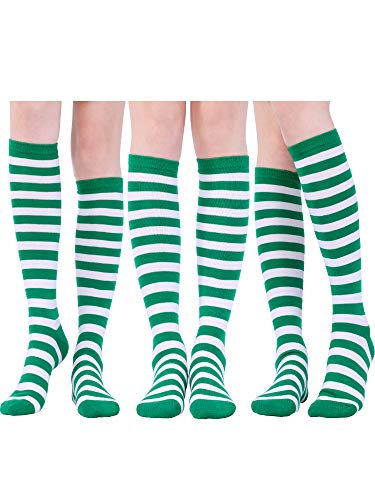 3 Pairs Long Striped Socks Knee High Soccer Stocking for Girls Cosplay Party Costumes