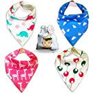 Baby Bandana Drool Bibs With Snaps For Girls - Super Absorbent, Soft and Modern - For Infant or Toddler Best Baby Shower Gift From Tiny Captain (Pink)