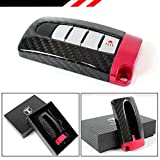 CARBON FIBER GTR STYLE CASE COVER WITH RED BASE FOR NISSAN KEYLESS ENTRY KEY FOB