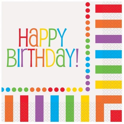 Rainbow Party Happy Birthday Napkins, 16ct (Party Ideas Polka Dot Birthday)