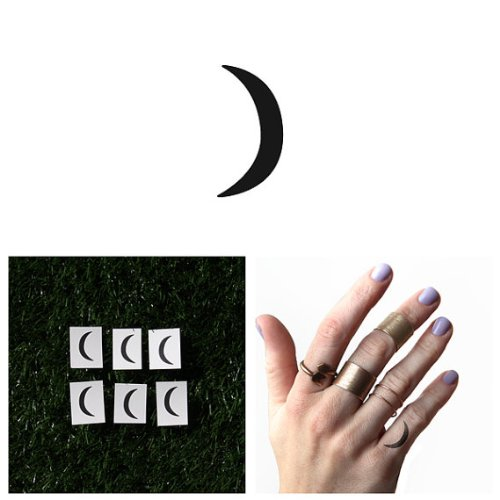 Moon Temporary Tattoo (Tattify Crescent Moon Temporary Tattoo - Goodnight Moon (Set of 6) - Other Styles Available and Fashionable Temporary)