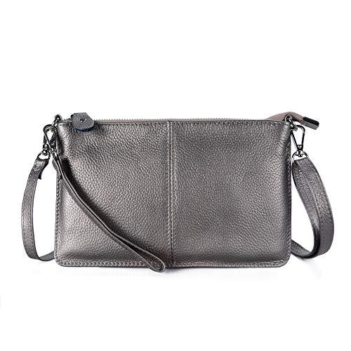 Befen Women Leather Wristlet Wallet Shoulder Crossbody Bag Clutch Purses with 6 Card Slots/Wrist Strap/Crossbody Strap - Gunmetal Gray (Bag Large Wrist)