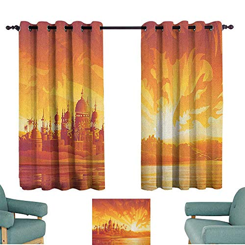 WinfreyDecor Asian Kids Room Curtains Golden City Under Dragon Fire Sky Palace Mythical Magical Legendary City Scenery Darkening and Thermal Insulating 72