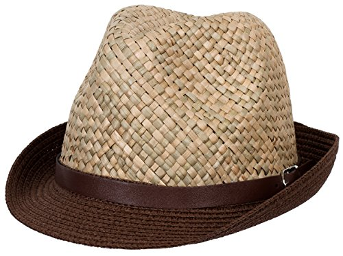 DRY77 Mens Straw Fedora Hats, Dark Brown
