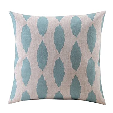 Create For-Life Cotton Linen Decorative Pillowcase Throw Pillow Cushion Cover Light Green Leaves Square 18