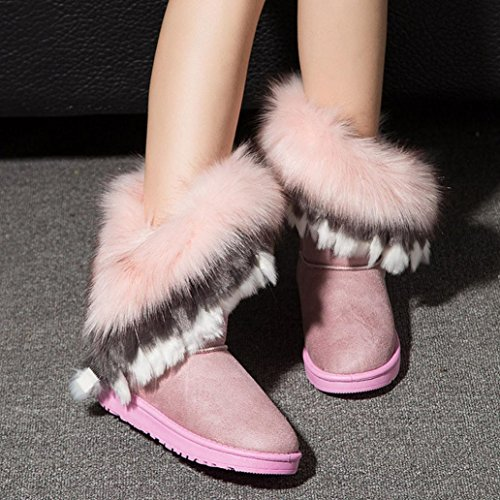 Snow Winter Fur Womens Warm Boots Boots Ankle Shoes Flat Pink Snow Boots Winter Egmy w0wgfzXAq