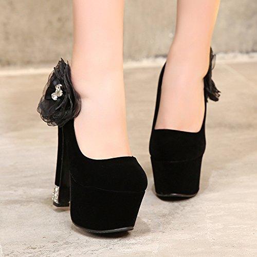 Tacones KHSKX Zapatos De Extra Tacones Altos Y MujerBlackTreinta Altos Grandes Ocho Tacones Altos RqRrS