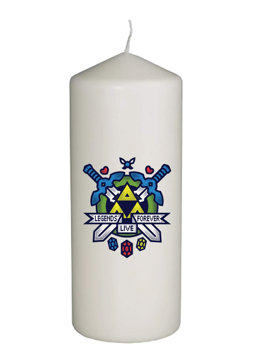Hit Restart Video Game Parody Thick White in Full Color Unity Candle - Wedding, Baptism, Funeral, Special Event Decoration (6 inches Tall)