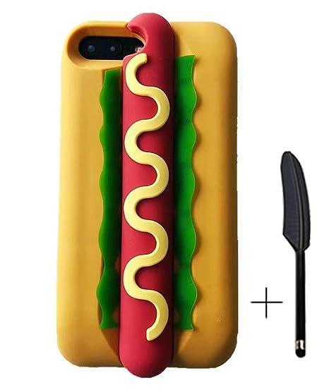 8157d18c96 HikerClub iPhone 7 Plus Case iPhone 8 Plus Case Hot Dog Bread 3D Cute  Cartoon Soft