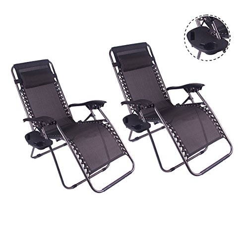 2pcs Outdoor Zero Gravity Lounge Chair Beach Patio Pool Yard Folding Recline With a cup stand (Black) by LKF