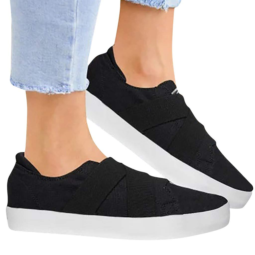 Sunsee-Women Shoes Womens Summer Canvas Flat Running Shoes Summer Beach Shoes Casual Single Shoes (41/US 8, Black) by WOMEN SHOES BIG PROMOTION-SUNSEE (Image #5)