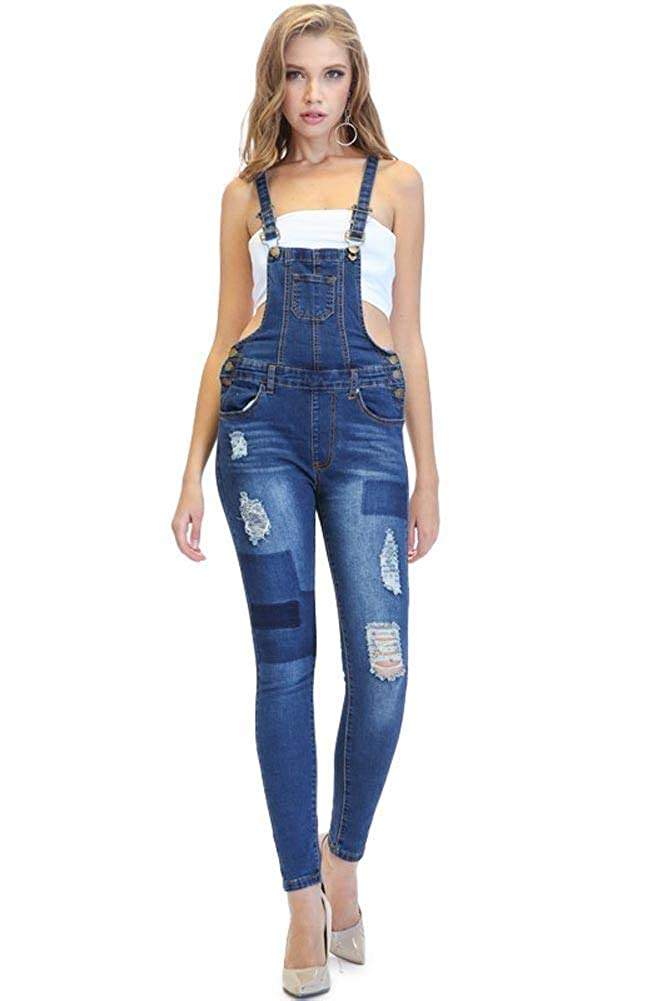 G-Style USA American Bazi Women's Distressed Ripped Jean Skinny Denim Overalls