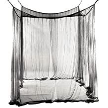 SODIAL(R) 4-Corner Bed Netting Canopy Mosquito Net for Queen/King Sized Bed 190*210*240cm (Black)