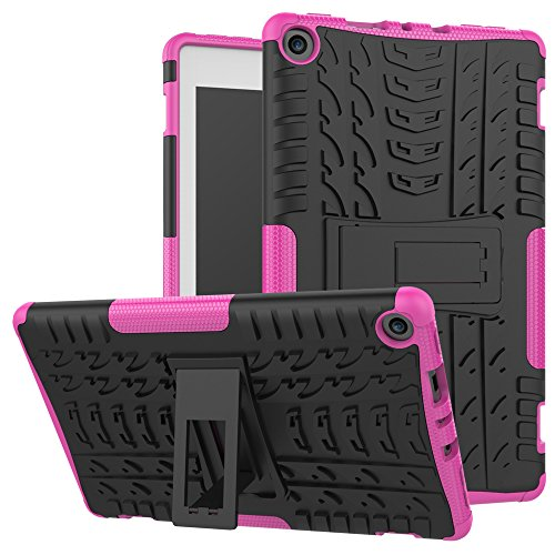 Maomi Amazon Fire 8 (2017/2018 Release) Case,[Kickstand Feature],Shock-Absorption/High Impact Resistant Heavy Duty Armor Defender Case for Kindle fire HD 8 7th/8th (Pink)