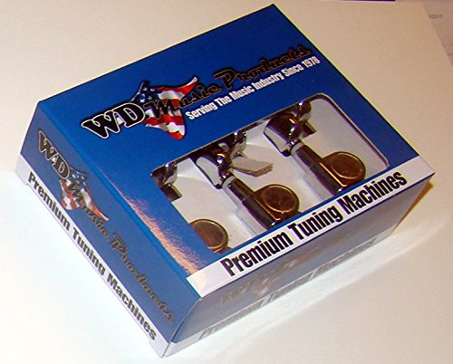 Six Inline Mini Die Cast Tuners, Chrome, by WD Music Products