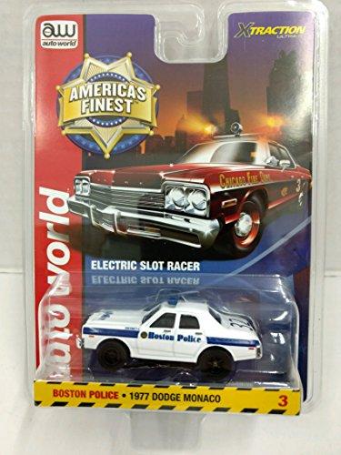 (Auto World SC327 America's Finest Boston Police 1977 Dodge Monaco HO Scale Electric Slot Car)