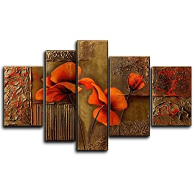 Wieco Art Extra Large Composition Of Three Poppies 100% Hand-painted Oil Paintings on Canvas Stretched Wall Art Floral Modern Artwork for Home Decorations