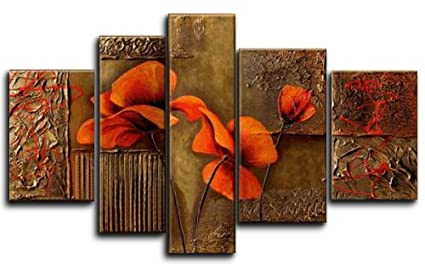 Wieco Art Composition Of Three Poppies  Piece Floral Oil Paintings On Canvas Wall Art For