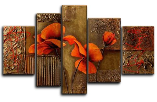 Wieco Art Extra Large Composition Of Three Poppies 100% Hand-painted Oil Paintings on Canvas Stretched Wall Art Floral Modern Artwork for Home Decorations by Wieco Art