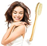 Sublime Beauty HEALTHY ORIGINAL BODY BRUSH for Well-Being. Ancient Art for Circulation & Glowing Skin. Top Skin Brush, Long Handle, Natural Bristles. 100% Moneyback Guarantee.