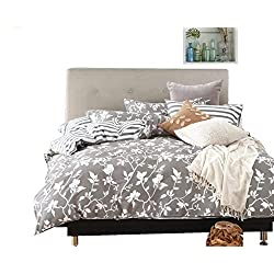 Swanson Beddings Leafy Vines 3-Piece 100% Cotton Bedding Set: Duvet Cover Two Pillow Shams (Oversized King)