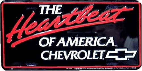 The Heartbeat of America embossed metal auto tag 6 x 12 Chevy License Plate