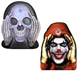 2-Pack Scary Peeper Window Cling - Clown and Reaper Peeping Tom Shocking Pranks Combo Set, Creepy Halloween Decorations