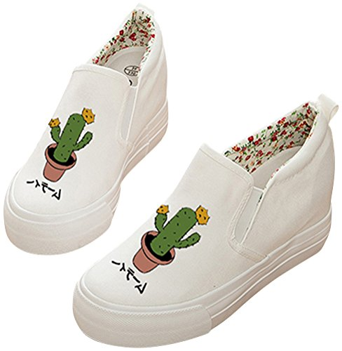 Fashion Casual Pull Adult Women's Sneakers On Wedge SATUKI Hidden Shoes Canvas Q Heel B4fxx