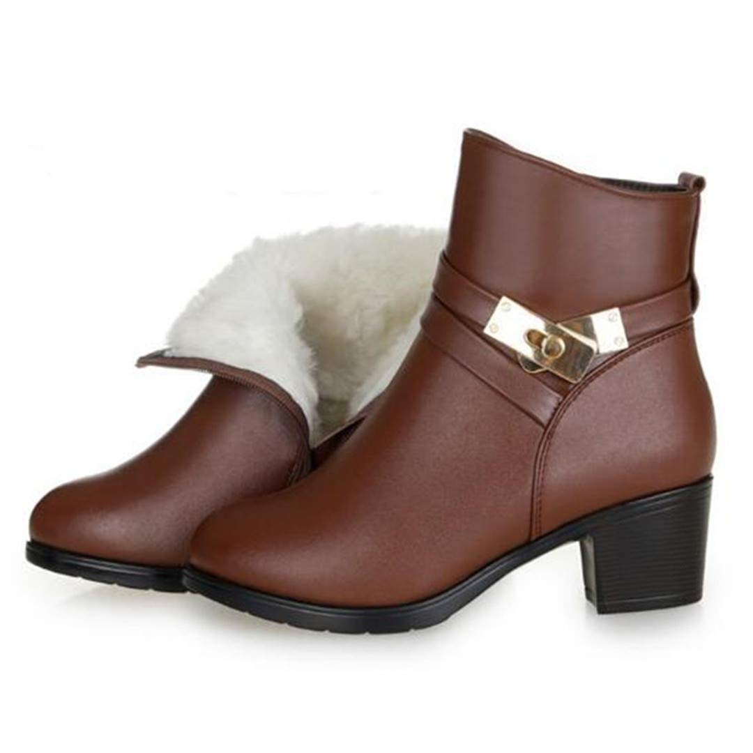 Brown wool inside Women shoes Large Size Metal Decoration Cowhide Leather shoes Women Boots Warm Fur One Wool Martin Boots