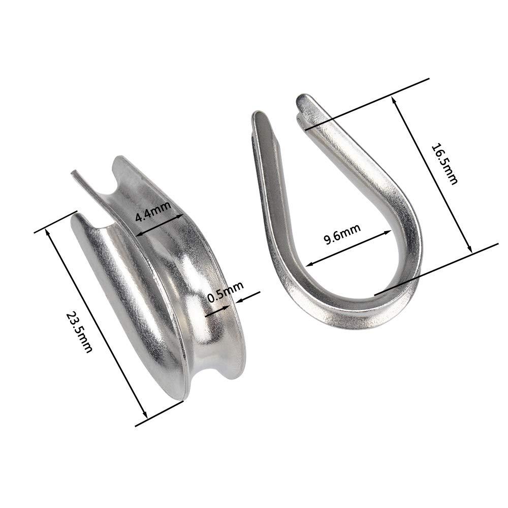 IMAGINE 10piezas 6mm M6 304 inoxidable dedales de cable Dedales de la cuerda de alambre del acero Guardacabos de cuerda de cable
