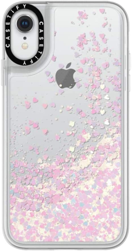 Casetify Pink Glitter iPhone XR Case with Unicorn Pink Floating Glitter Sparkle in Liquid Clear Back and Shockproof Drop Proof Frost Bumper and Wireless Charging Compatibility for iPhone XR