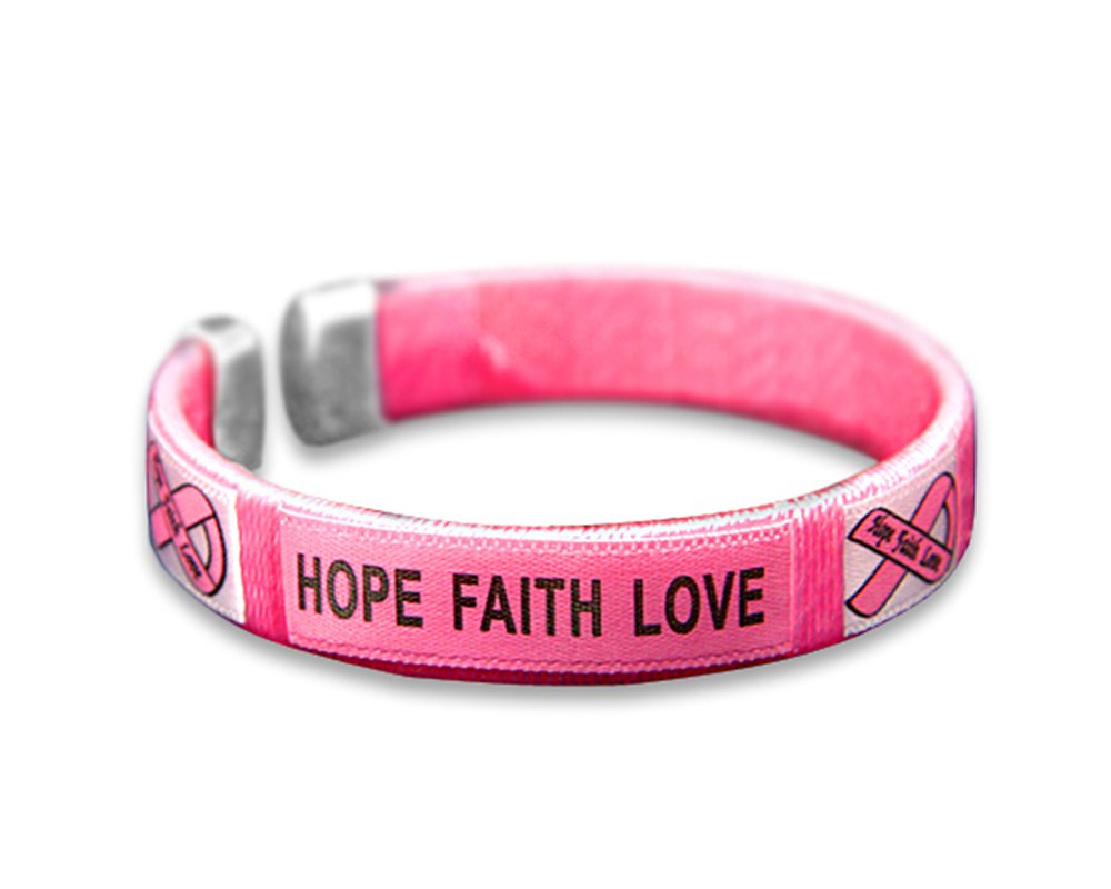 Fundraising For A Cause 25 Pack Breast Cancer Awareness Pink Hope, Faith, Love Bangle Bracelets (25 Bracelets - Wholesale)