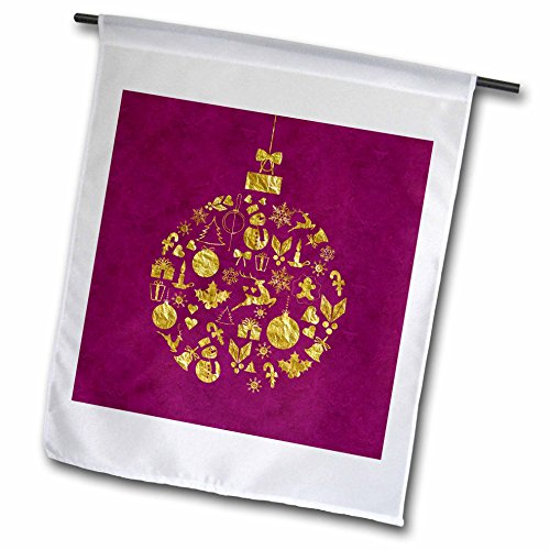 3dRose Andrea Haase Christmas Glamour - Christmas bauble filled with a pattern of xmas ornaments gold - 12 x 18 inch Garden Flag - Filled Ornament