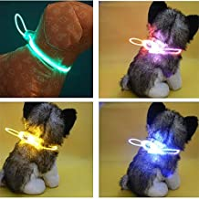 1Pc Adjustable Waterproof Electric Pet Dog LED Flashing Reflective LED Collar Chain Puppy Tool Green