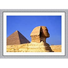 Close-up of the Sphinx and Pyramids of Giza, Egypt by Bill Bachmann / Danita Delimont Framed Art Print Wall Picture, Flat Silver Frame, 45 x 33 inches