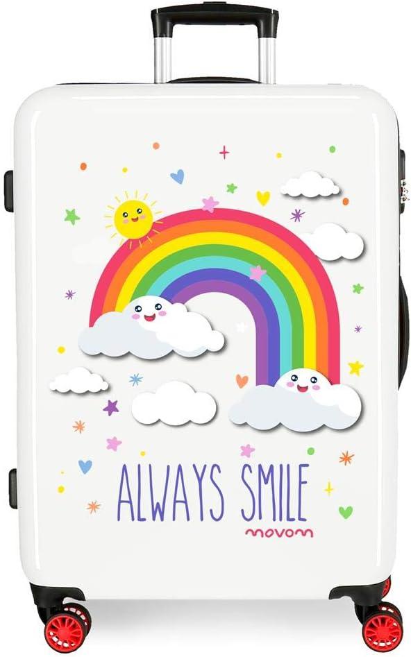 Maleta Mediana rígida MOVOM Arcoiris Always Smile Blanca