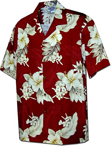 Mens Hibiscus Aloha Shirt - Pacific Legend Tropical Floral Hibiscus and Plumeria Hawaiian Shirt (3X, Red)