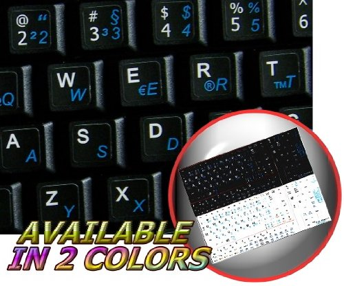 NETBOOK GERMAN ENGLISH KEYBOARD STICKERS BLACK BACKGROUND
