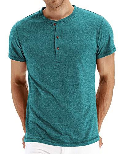 SALNIER Mens Casual Henley Shirt Slim Fit T Shirts Cotton Shirts Short Sleeve (Light Blue, XL) ()