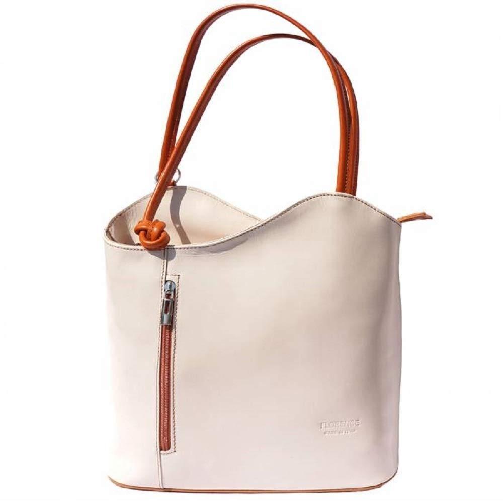 LaGaksta Easy Carry Italian Leather Convertible Backpack Shoulder Purse Medium Beige Tan