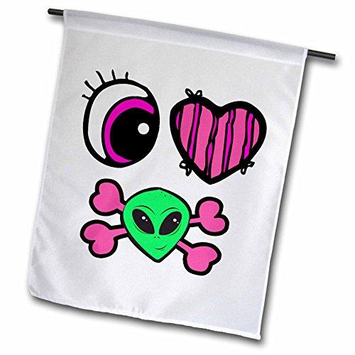 3dRose fl_102332_1 Emo Style Eye Heart I Love Aliens Design Garden Flag, 12 by 18-Inch