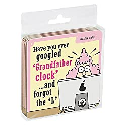 Tree-Free Greetings Set of 4 Cork-Backed Coasters, 3.75 x 3.75 Inches, Aunty Acid Grandfather Clock (EC96590)