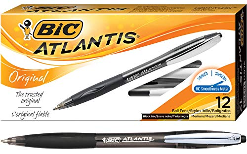 BIC Atlantis Original Retractable Ball Pen, Medium Point (1.0 mm), Black, 12-Count