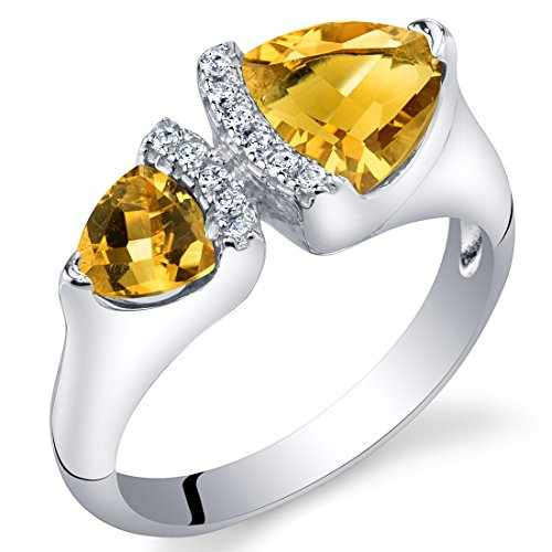 Forever Us Two Stone Citrine Sterling Silver Trillion Cut Ring Size 9